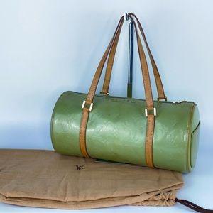 Auth LV Mint Green Vernis Monogram Bedford Bag